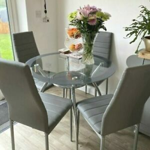 Round Glass Dining Table 4 Chairs Modern Home Kitchen Living Room Furniture Grey