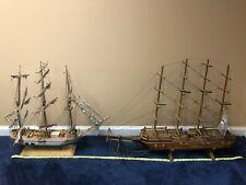 2 Large Antique Wooden Model Ships. Sail, Nautical, Handmade, Sailboats