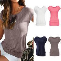 Womens Summer Beach T-Shirts Casual Blouse Fit Shirt Short Sleeve Tops Plain Tee