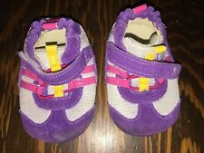 Robeez Baby Tennis Shoes 3-6 mos Cute Purple sparkly silver and pink stripes