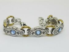 Brighton CELESTIAL Silver & Gold Tone Blue Crystal Link Bracelet Retired
