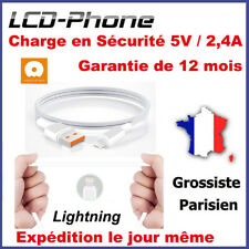 Câble iPhone iPad iPod Lightning 2.4A Charge Rapide en sécurité GARANTIE 12 mois