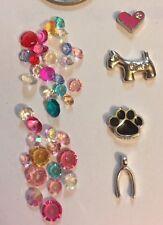 FREE POST Pet Lovers Teeny Tiny Puppy Dog Floating Charms X 4 & Gems 4 Locket
