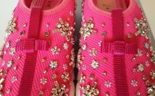 NEW $1100 DIOR FUSION Crystal Embroidered Hot Neon Pink Sneakers  Sz 37