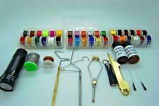 Fly Tying Tool & kit di materiale, filo interdentale, Decorazioni, filo, colla, Whip rifinitore, filo