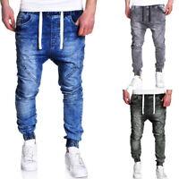Mens Joggers Jeans Drawstring Slim Fit Denim Pencil Pants Stretch Trouser Newest