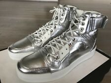 850$ Gucci Silver Leather High tops Sneakers Size US 10 Made In Italy