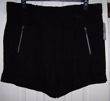 MICHAEL KORS VISCOSE BLACK SHORTS WITH ZIPPERS SZ 14 NWT
