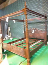 "USA King 76""x80"" Dark Antique Mahogany Queen Anne style Four Poster mahogany bed"
