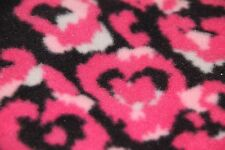 "Fleece Fabric Black with Pink White Hearts Design 70"" x 52"""