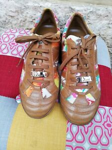 dior sneaker Beige  Leather Shoes Size 39  8.5