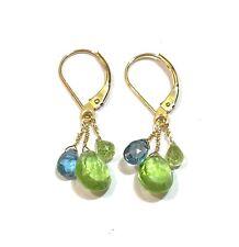 "peridot topaz aquamarine gemstone earrings 14k gold 1"" dangle cluster leverbacks"