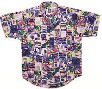 vintage 80s 90s LE SHARK Thin Distressed Rayon Hawaiian Shirt MEDIUM aloha camp