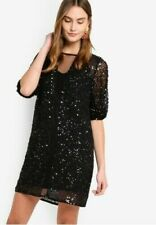 French Connection Black Diana Sequin Plunge Mini Embellished Party Dress 10 38