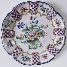 Ancienne assiette—Faïence de Nevers—A. MONTAGNON—Décor papillons—Fin IXXe