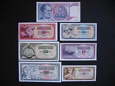 YUGOSLAVIA  10 + 20 + 50 + 100 + 500 + 1000 + 5000 Dinara 1968 - 86  UNC