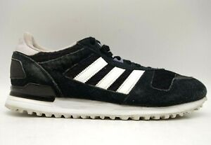 Adidas 3 Stripe Black Suede Leather Lace Up Casual Sneakers Shoes Women's 10
