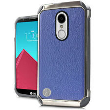 LG ARISTO LV3 K8 2017 BLUE LEATHER LOOK IMPACT CASE HEAVY DUTY RUGGED COVER