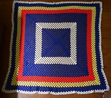 "Vintage Crochet Handmade Granny Afghan Lap Multi Square Throw Blanket 65""X58"""