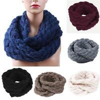 Women Winter Warm Circle Knitted Cowl Neck Infinity Scarf Thick Wrap Shawl 889