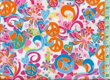 1/2 yd FLANNEL Psychedelic Peace Signs Flowers Swirls on White BTHY