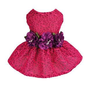 Fitwarm Flowers Wedding Dog Dress Pink Pet Clothes Shirt Party Apparel Cat Vest