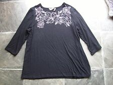BNWT Women's Black & Silver Floral 3/4 Sleeve Knit Top Size L