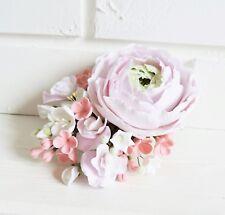 Wedding pink peony Hair Clip Barrette HANDCRAFTED Fashion polymer clay HANDMADE
