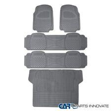 5PC Front+Rear+Cargo Heavy Duty Gray Rubber Floor Mat Carpet Pickup Semi Custom