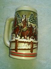 Vintage Beer Stein Budweiser Clydesdale Holiday 1984 Covered Bridge St Louis
