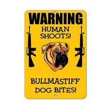 Bullmastiff Dog Human Shoots Fun Novelty Metal Sign