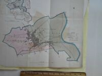 2 Vintage MAPS of Borough of BEVERLEY, UK & Text