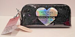 VICTORIA'S SECRET FASHION SHOW LONDON 2014 BLACK GLITTER SMALL MAKEUP BAG (RARE)