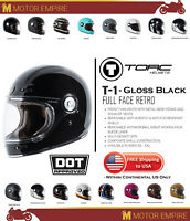 TORC T1 Retro Full Face Fiberglass Motorcycle Helmet Gloss Black DOT ECE