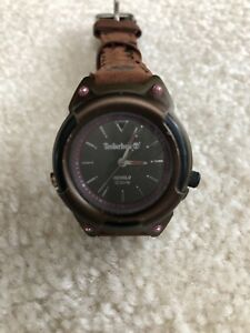 VINTAGE TIMBERLAND LADIES WATCH Brown Leather Band & INDIGLO NWOT