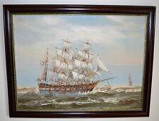 Navire en mer huile sur toile peinture signé par c. vasto £ 65