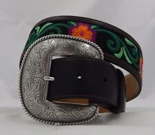 New Justin LAS FLORES Taper Leather Belt      Size 36  C21123  NWT