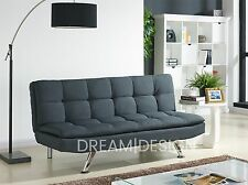 Fabric Sofa Bed 3 Seater Padded Sofabed Chrome Legs Cube Design Various Colours Charcoal