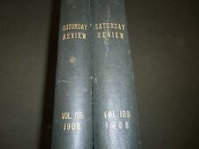 1908 SATURDAY REVIEW 2 BOUND VOLUMES - COMPLETE YR- PUBLISHED IN LONDON - R 1090