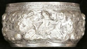Antique Vintage Burmese Thai Repousse Silver Plated Thabeik Offering Water Bowl