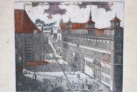 Kupferstich altkoloriert Nürnberg Das Rathauß um 1750