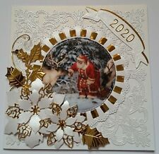 Handmade - CHRISTMAS CARD - 2020 - Embossing - SANTA - Poinsettias - Gold Foil