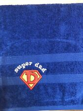 Super Dad Bath Towel Fathers Day Birthday Gift Blue 100% Cotton Great Present
