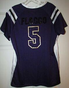 NFL Baltimore Ravens Joe Flacco #5 Womens Sparkly Lace Up Shirt Sz XL