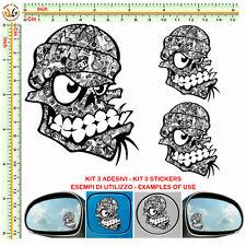 Adesivi serbatoio auto teschio skull sticker bomb mirror tuning helmet 3pz
