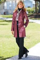 CHADWICKS Women Burgundy Genuine Soft Leather 3/4-Length Coat Size M