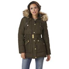 Women's Rocawear Plus Hooded Belted Puffer Jacket Olive 1XL #NJHSW-G11