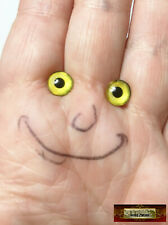 M01588 Morezmore 1 Pair Glass Eyes Iris 8mm Yellow Flat Back Doll Puppet