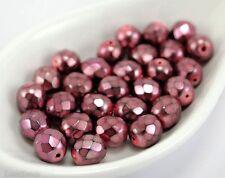 Pink Czech Glass Beads 8mm (20) Fire Polished Polish Round Carmen