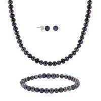 925 Silver Peacock Pearl Necklace Bracelet Earrings 3-PC Set